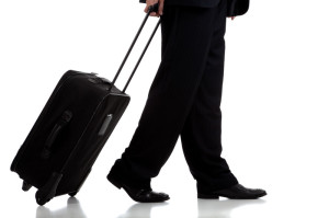 Traveling with suitcase